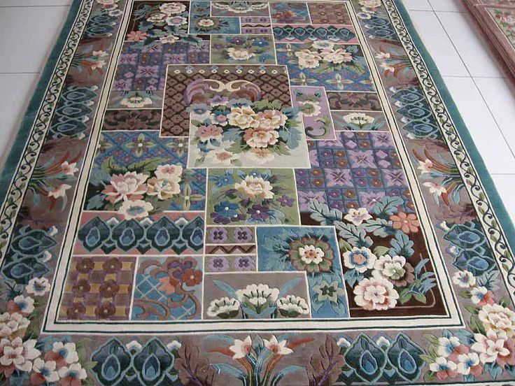 Hand Knotted Silk Carpet With Carving Technique Piles 6mm Height Size