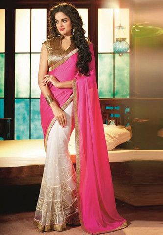 Pink and Off White Color Half Tissue and Half Fancy Designer Sarees : Dazzle Collection YF-22139