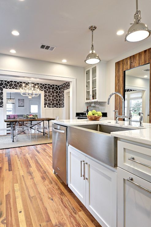 Avenue B - kitchens - Benjamin Moore - Classic Gray - Flatiron Dining Table, Union Square Wallpaper, Asbury Pull, Harmon Pendant, open conce...