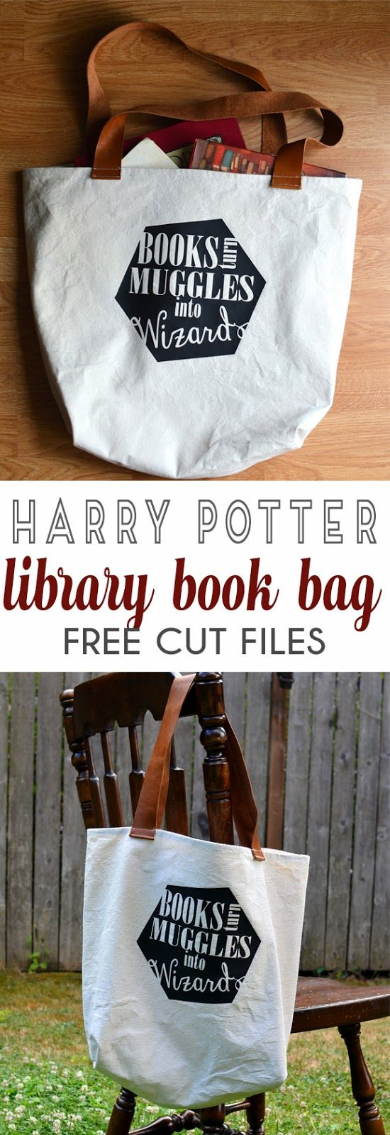 Harry Potter Bag for library book bag sewing tutorial and free cut files for cricut and silhouette