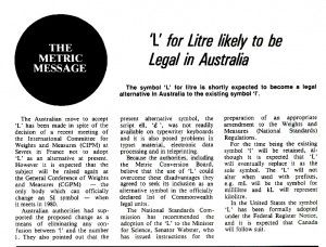 THROWBACK THURSDAY: 'L' for Litre likely to be legal in Australia