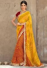 Red & Yellow Color Georgette Festival & Function Wear Sarees : Selina Collection  YF-43378