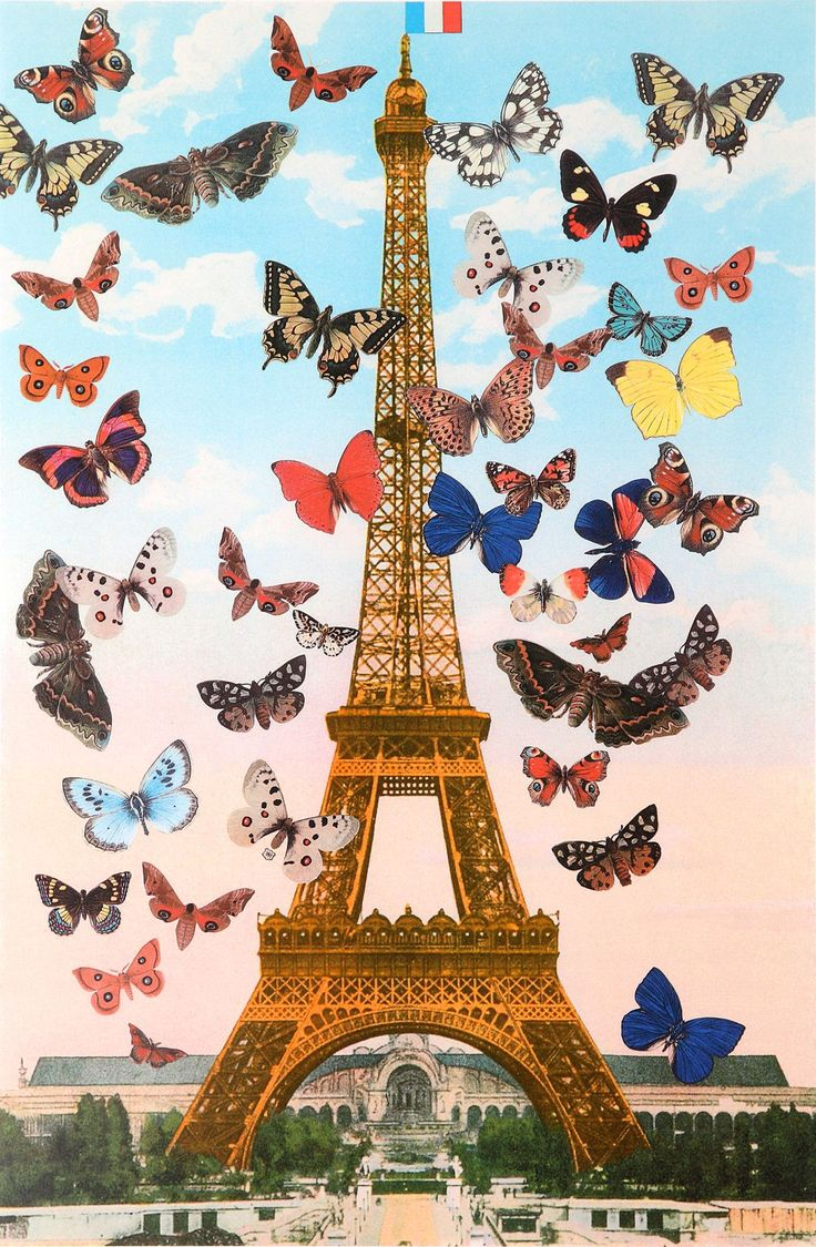 Sir Peter Blake » Eiffel Tower I think the image is quite surreal as the butterflies aren't in real proportion