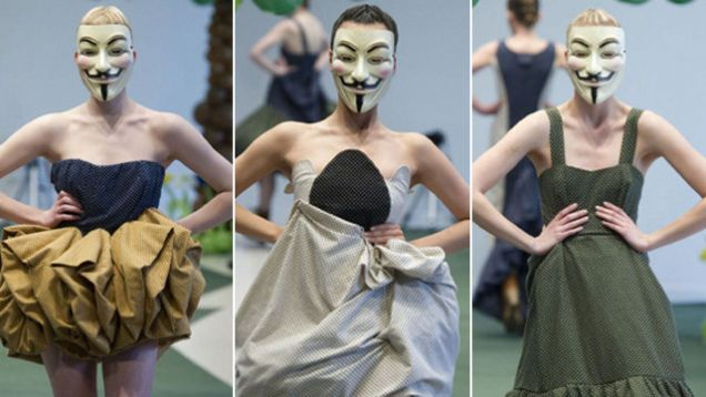 Fashion Show with Hacker Masks 'Baffles Audience' Adrain Wu