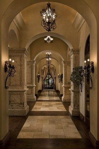 The color scheme I want for my home, the pillars too for the entrance into my den and the same type stone for the fireplace. Also I think the floor could be mimiced with stain concrete. Love the hardware for lights ect....