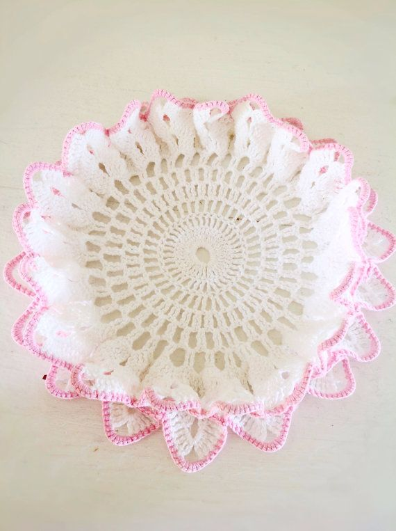 Vintage Pink and White Lamp Doily|Vintage Doily|Victorian Bedroom|Victorian Tabletop|Vintage Valentines Day Decor|Elegant Doily on Etsy, $8.00
