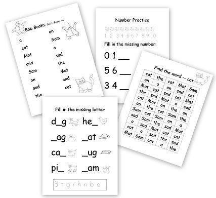 Beginning Reader Worksheet Pack to Accompany the Bob Books - Homeschool Den