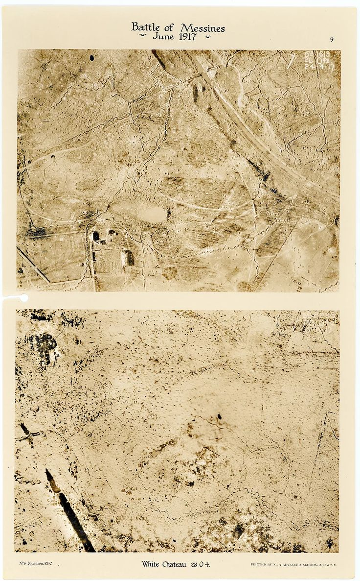 This is page 9 of 43 pages of aerial photos taken by 6 Squadron before and after the Battle of Messines. The upper photo was taken directly over the White Chateau (NOT the White Chateau at Hollebeke) prior to the pre-attack bombardment and the second immediately before the commencement of the Battle of Messines