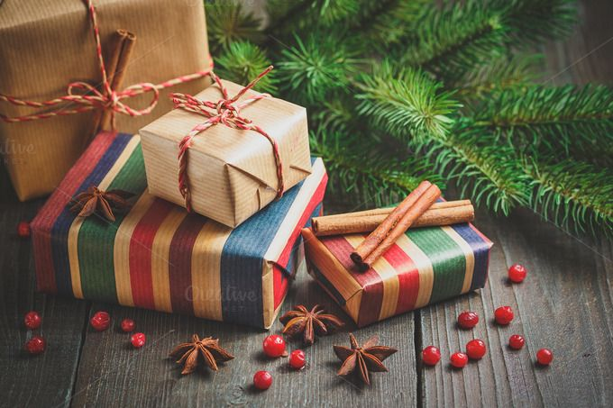 Christmas gift box with decoration by Irrin0215 on @creativemarket