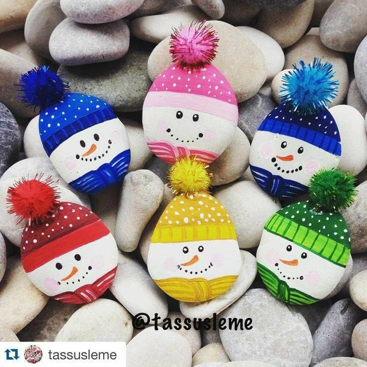 Snowman Rocks rock painting patterns | how to make painted rocks | painted rocks craft | Painted rock ideas
