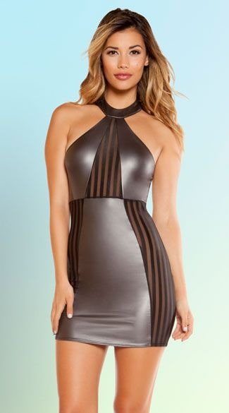 Turn heads in this metallic silver mini dress featuring a high neck, sheer striped panels, a low back, and a form fitting skirt. Futuristic High Neck Mini Dress, Silver Mini Dress, High Neck Dress #clothing #sexydresses #clubwear