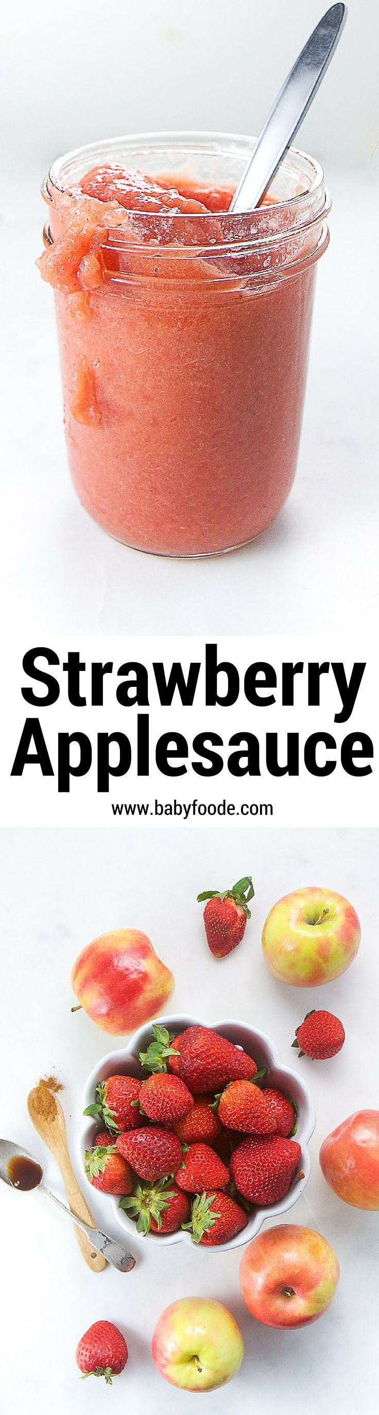 This bold Strawberry Applesauce is made with a ton of strawberries (2 heaping cups), apples, a drizzle of vanilla extract and a pinch of cinnamon. It's amazing served for breakfast, with lunch or as an afternoon snack.