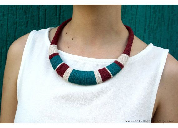 Burgundy and teal necklace, statement necklace, colorful jewelry, tribal necklace