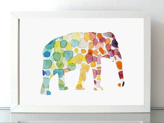 Olifant illustratie  giclee print  regenboog door Lemonillustrations