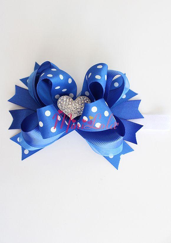 Saks mavi puantiyeli gümüş kalp taş süslü saç bandı