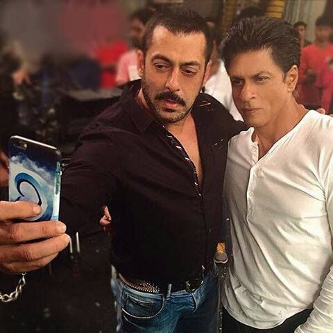 Selfie time! Salman Khan clicks a selfie with Shah Rukh Khan.