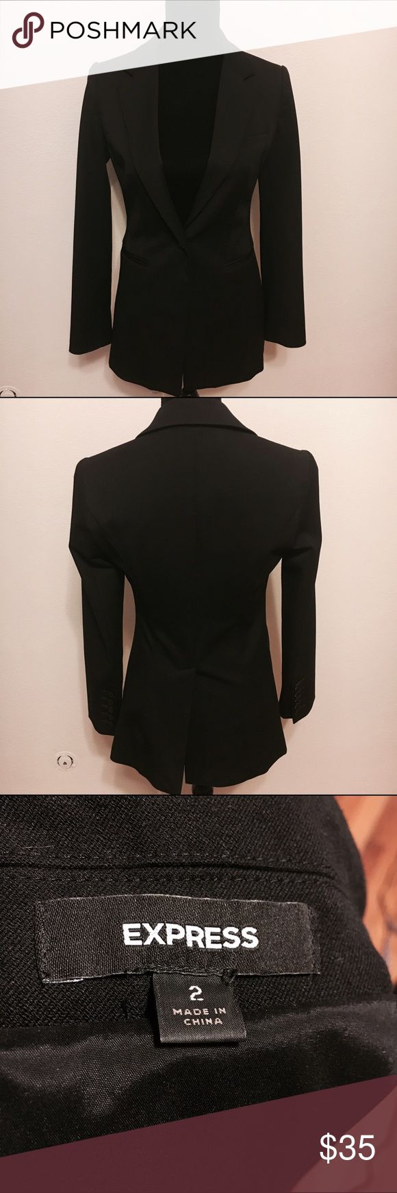 Express size 2 suit jacket blazer black Express size 2 black suit jacket / blazer. One button on front. Buttons on sleeves. Very nice quality. 16 arm to arm and 28 shoulder to hem. Is in good shape. Has been worn. Has very slight pilling on sleeve. Please be aware before purchase. Has only been worn once. Perfect for work. Classy , formal. Dress up or down. Interviews , work , homecoming. Express Jackets & Coats Blazers