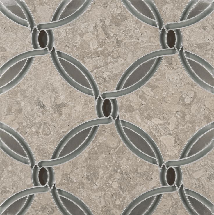 waldorf petite mosaic in obsidian grey frost glass, pearl grey glass and lagos blue stone