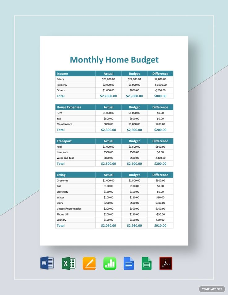 Monthly Home Budget Template AD, , AD, Home, Monthly