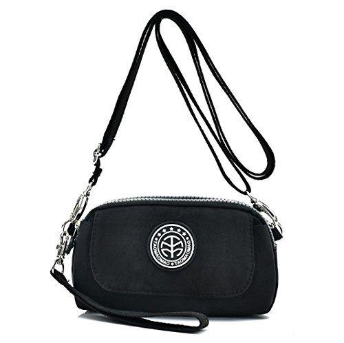 fa09214e5a Women s Water-resistant Nylon Wristlet Purse Clutch Wallet Small Cell Phone  Crossbody Shoulder Bag