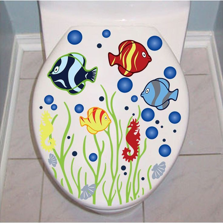 Fish & Bubbles 36x29cm Toilet Sticker   Free Worldwide Shipping!  Only $4.29    Order from: www.happycozyhome.com