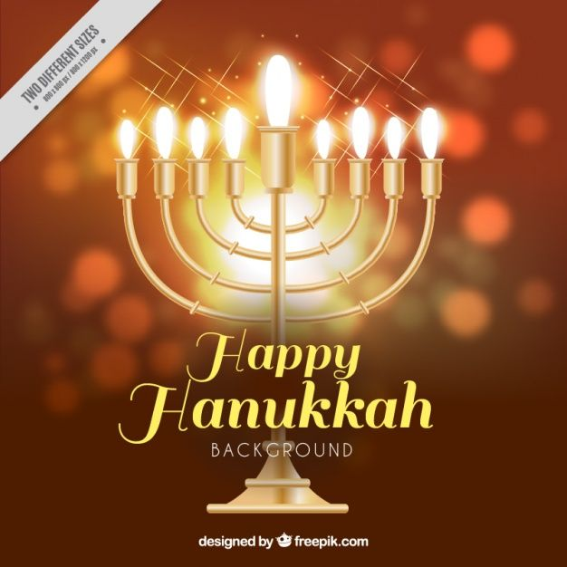 Great Hanukkah Background With Realistic Candelabra Free Vector