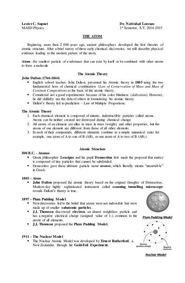Development Of atomic theory Worksheet the atom Handouts ...
