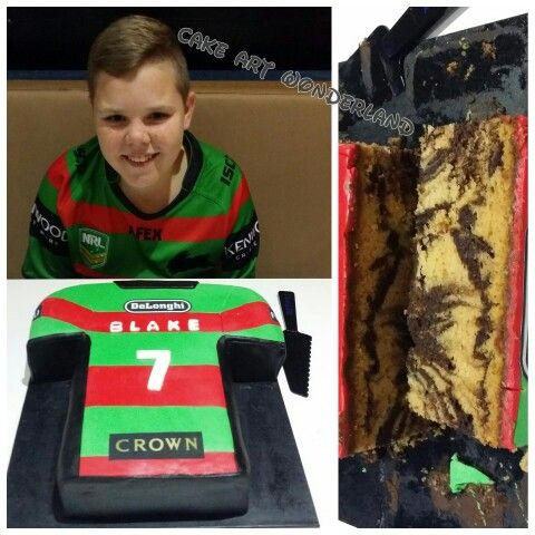 My amazing son's 13th Rabbitohs Jersey Birthday Cake. Carved from Marbled White Chocolate & Chocolate Mudcake. All decorations are edible including logos.