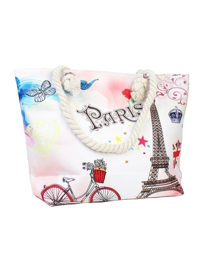 Cycling At Paris Canvas Shoulder Tote Beach Bags Zip Closure Rope Handles NWT #Grand #SummerBeachBag