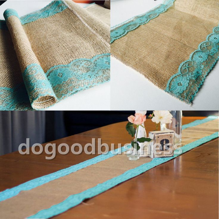 X Rustic Burlap Turquoise Lace Hessian Table Runner Jute For Wedding Party  Event Decoration(China (Mainland))