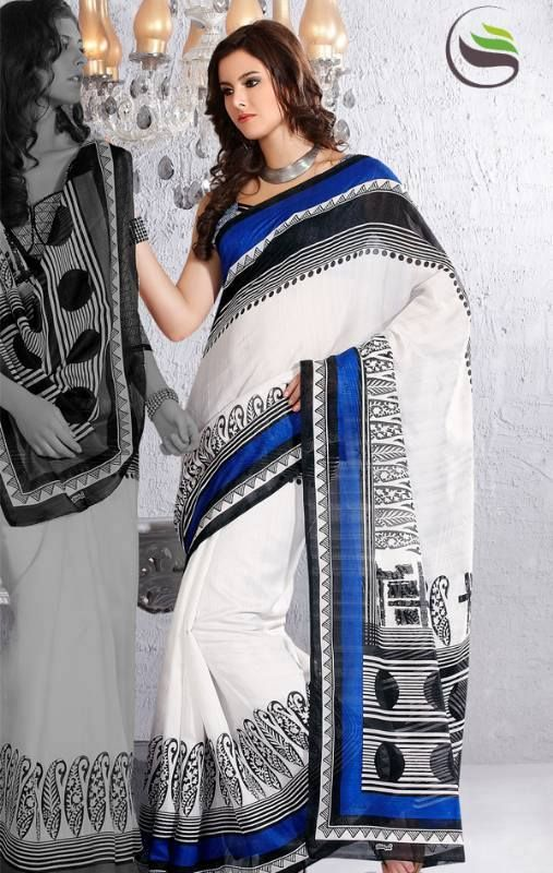 SALE SALE SALE Off white blue and black color art silk printed saree with blouse   ORIGINAL PRICE: AUD $77.50 SALE PRICE: AUD $39  https://www.facebook.com/media/set/?set=a.605812792810587.1073741850.423983984326803&type=3#!/photo.php?fbid=605813302810536&set=a.605812792810587.1073741850.423983984326803&type=3&theater