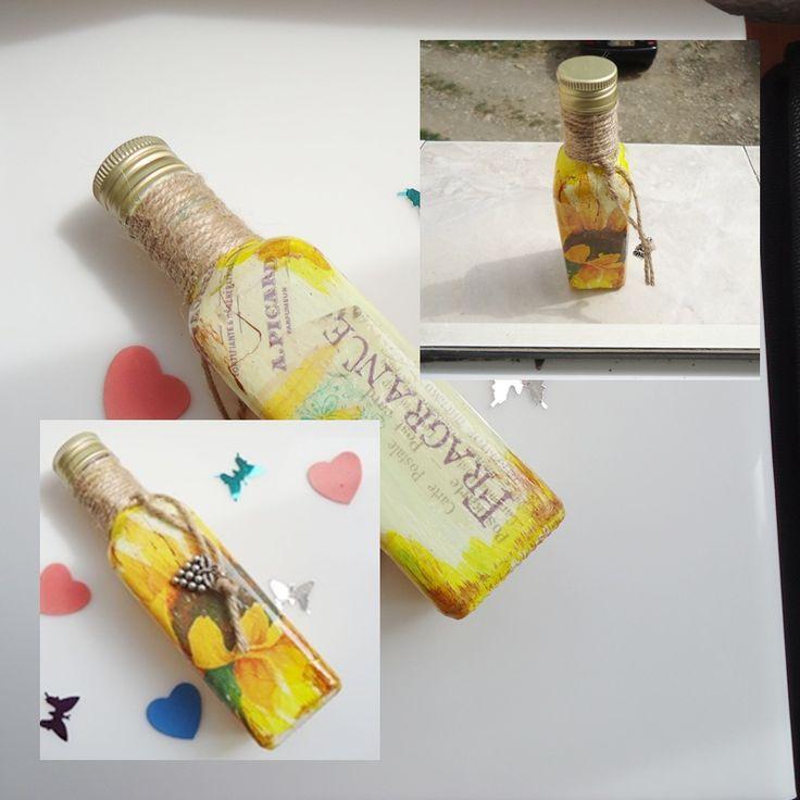SUNFLOWER - Decoupage bottle