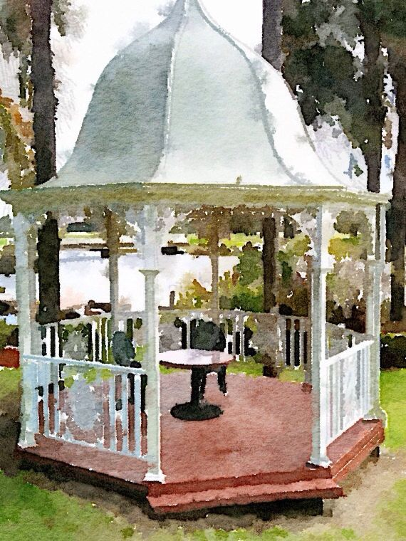 Dreamy Garden Gazebo Print - Digital Design from The Wishing Wall Art on Etsy. Printed on high quality paper in 4 sizes. Custom sizes are available. Digital download coming soon.