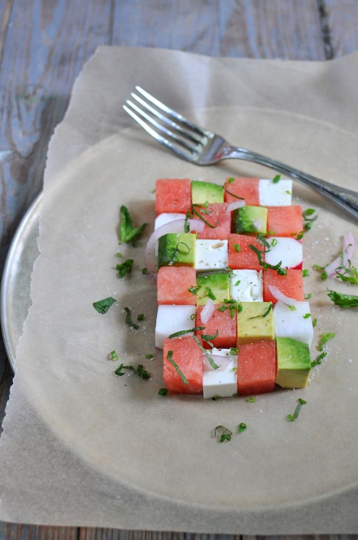 Summer watermelon salad:    watermelon,  avocado,  feta,  radish,  red onion, chopped or sliced,  mint, sliced or torn,  chives, chopped,  salt & black pepper.  I'm making this today :D  the best summer salad recipeeee. Thid w would be good with almond instead of watermelon too.