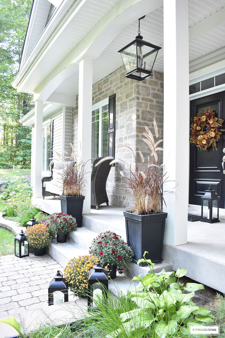 An elegant front porch decorated for fall best home - Homes front porch designs pictures ...