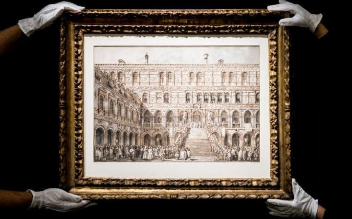 A new record for a drawing by Canaletto achieved this morning at Sotheby's in London. The Coronation of the Doge on the Scala dei Giganti Sells for £2.6m / $3.4m / €3m London, 5 July 2017 – A superbly preserved drawing ranking among the greatest ever made by Canaletto sold for a record £2,633,750 / $3,404,385 / €2,999,591 at Sotheby's London moments ago. The price eclipsed the previous record for a work on paper by the artist (£1.9 million achieved for Campo San Giacomo di Rialto, Venice…