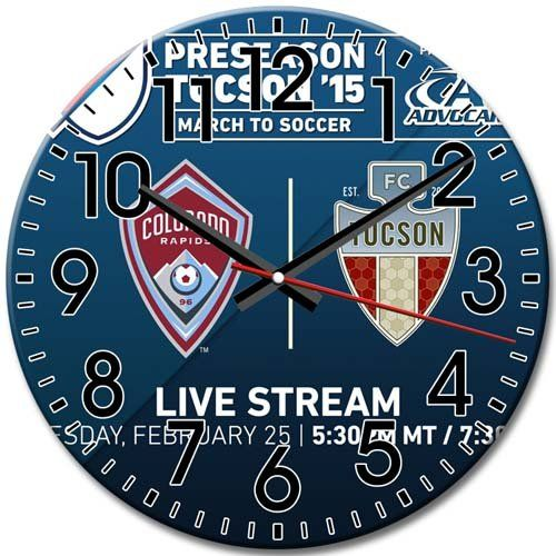 Round Wall Clock Quiet Frameless Arabic Numbers Creative Technology Colorado Rapids 10 Inch / 25 cm Diameter