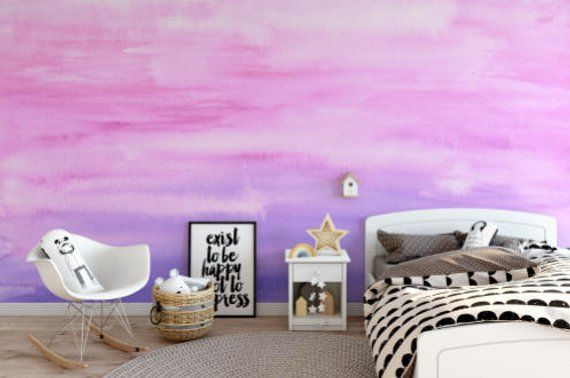 Pink Purple Watercolor Ombre Wallpaper Removable Etsy Ombre Wallpapers Removable Wallpaper Peel And Stick Wallpaper