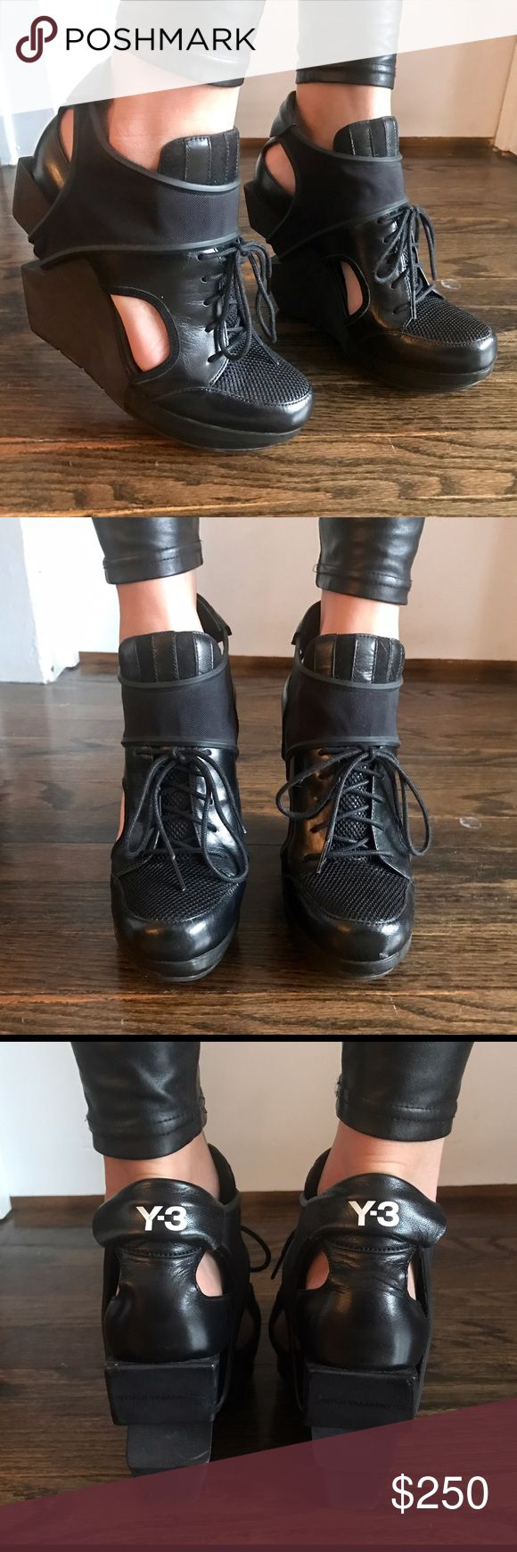 Y3 wedges Barely worn, pretty much brand new, rare Y3 Yohji Yamamoto X adidas collaboration wedged heels. Leather lace up in the front with athletic strap that tucks under the heel. Women's size 9 Yohji Yamamoto Shoes Wedges