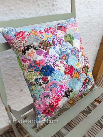 Clam shell pillow made with Liberty fabrics.