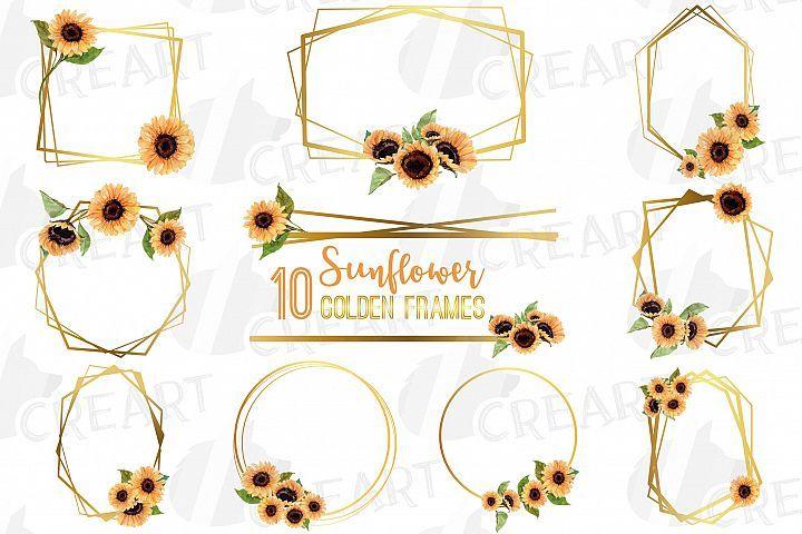 Download Watercolor Elegant Sunflower Geometric Golden Frame Template 353913 Illustrations Design Bundles Frame Template Wedding Borders Illustration Design