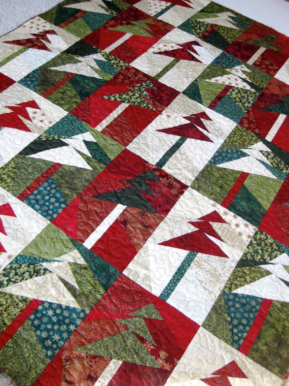 Lap Quilt Wall Hanging Modern Christmas Trees By