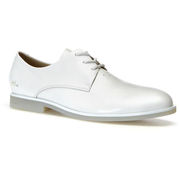 Lacoste Women's Cambrai Derbies ($190) ❤ liked on Polyvore featuring shoes, oxfords, off white, off white shoes, real leather shoes, genuine leather shoes, leather footwear and leather shoes
