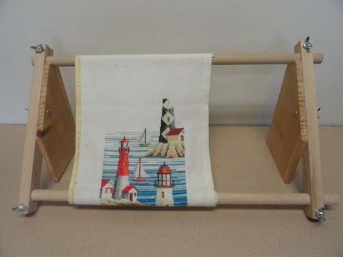 crewel needlepoint cross stitch scroll frame lap table wood stand holder ebay