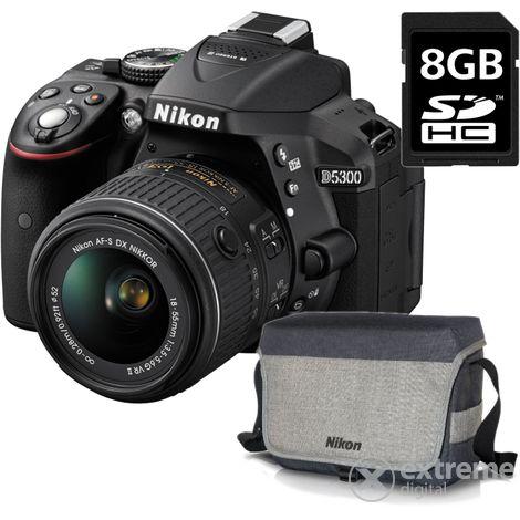 Nikon D5300 fényképezőgép kit (AF-P 18-55 VR objektívvel), fekete  + Nikon táska + 8GB SD kártya  3 év garancia a vázra