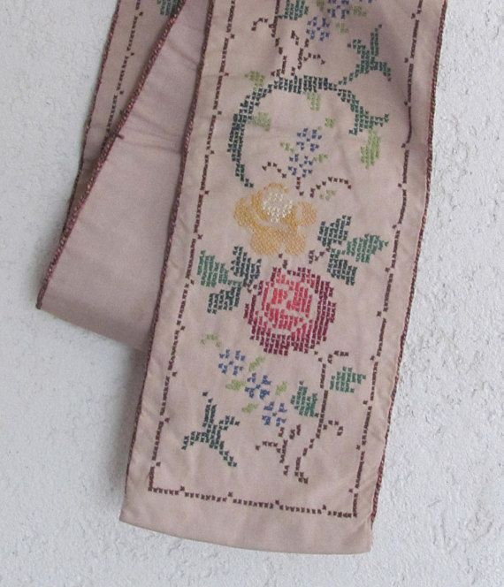 """6""""x 44"""" Swedish Vintage Embroidery Wall Decor / Table Runner; Scandinavian Home Decor; Floral Cross Stitch Embroidery; Wall Hanging Tapestry"""