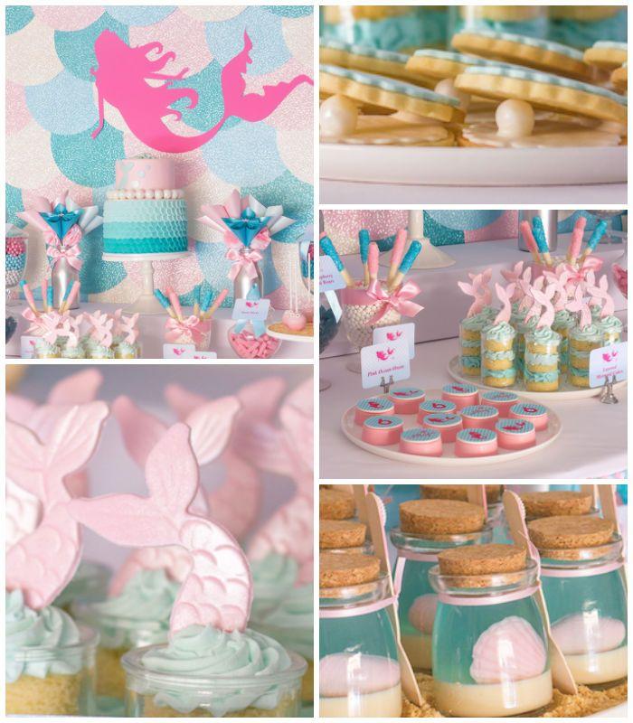Mermaid in the Ocean themed birthday party with So Many CUTE IDEAS via Kara's Party Ideas Kara's Party Ideas   Cake, decor, cupcakes, games ...