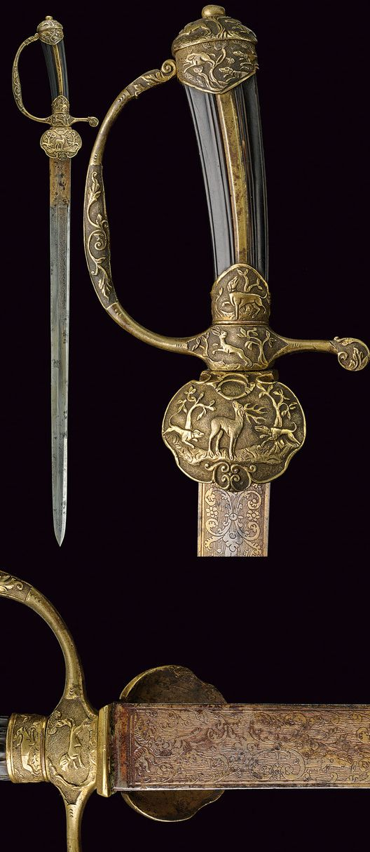 A fine hunting hanger,    provenance: Germany dating: 18th Century.