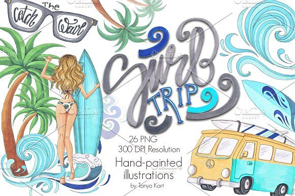 Surf Trip Hand-painted Collection by Tanya Kart on @creativemarket