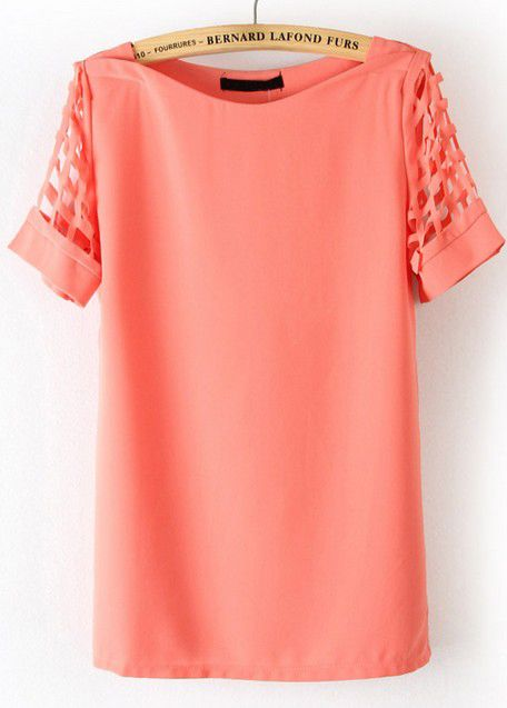 Pink Hollow Short Sleeve Chiffon Blouse